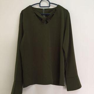 Army Green Korean Blouse