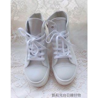 正韓女鞋 白色洞洞透氣厚底綁帶拉鍊運動休閒鞋 (23.5 )高幫鞋 小白鞋