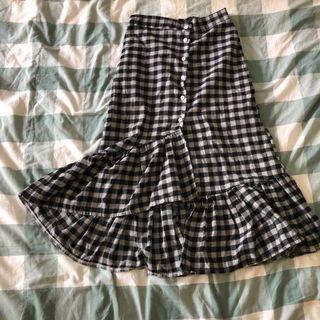🚚 mermaid ruffle gingham checkered midi skirt