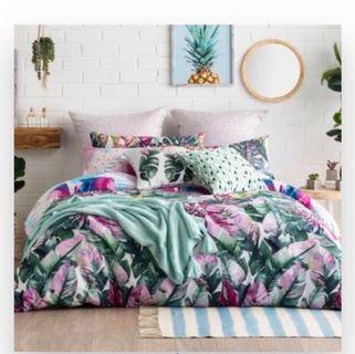 Monstera leaves queen king pillowcase duvet cover quilt set