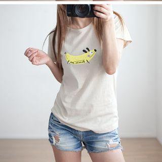 韓國空運 韓製 香蕉臘腸狗狗短袖T恤 白色,米黃色,卡其色