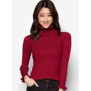 Yoco Ribbed Knit Top With High Collar