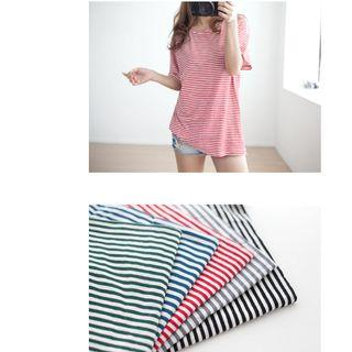 韓國空運 韓製 條條紋短袖T恤 綠色,藍色,紅色,灰色,黑色