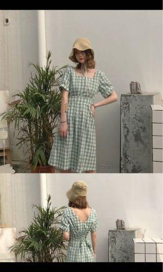 夏季 韓版 收腰 格仔連身裙 斯文裙 前後兩穿繫帶 復古