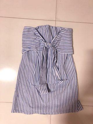 🚚 Blue and white striped ribbon tube dress 2019