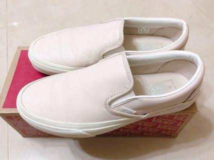 Vans Class Slip On真皮皮革裸粉色懶人鞋 25號