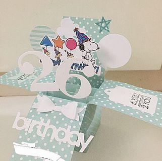 Happy 26 birthday snoopy handmade birthday Pop Up card