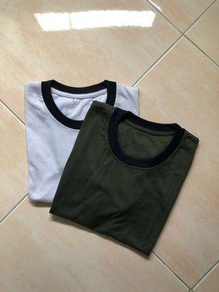 2pcs tee white & army green
