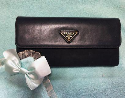 Prada Tessuto Black Nero Soft Calf / Nylon Long Flap Wallet