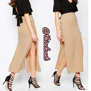 Love Lace Up Thigh Split Skirt in Camel Beige