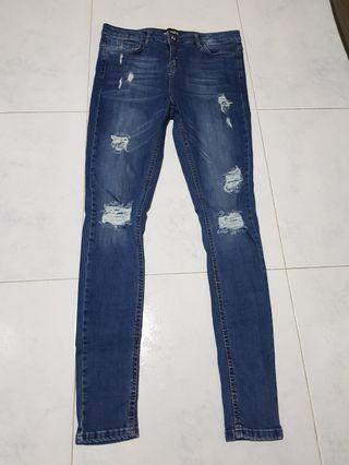 Hera London Men - Blue Denim Super Skinny Jeans