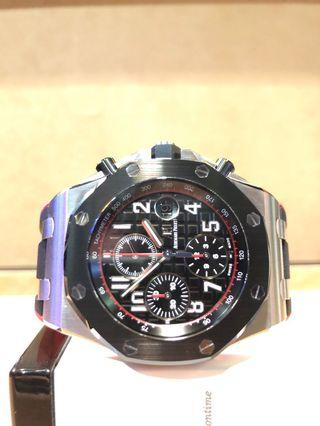 "Pre Owned Audemars Piguet Royal Oak Offshore 26470SO ""Dark Knight"" Black Dial Automatic Steel Casing Rubber"