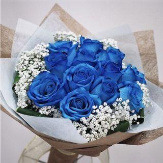 🚚 12 stalks blue roses