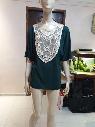 Green laces front loose blouse