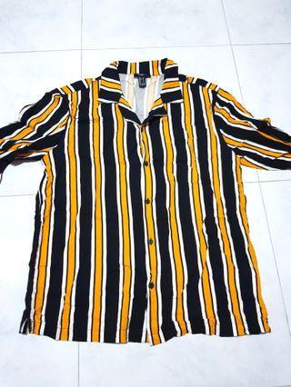 Forever21 Men - Orange Stripes Long Sleeve Shirt