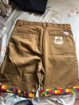 XLarge kaki shorts with rainbow trim