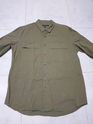 Urban Revivo Men - Navy Green Long Sleeve Shirt
