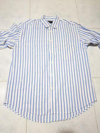 Double Denim - Light Blue Stripes Long Sleeve Shirt