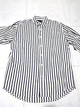 Double Denim - Dark Blue Stripes Long Sleeve Shirt