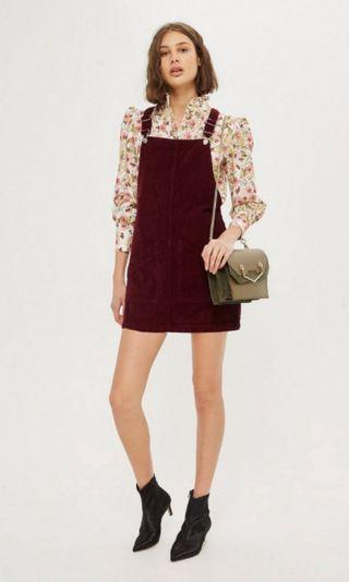 Topshop Burgundy Corduroy Pinafore Dress