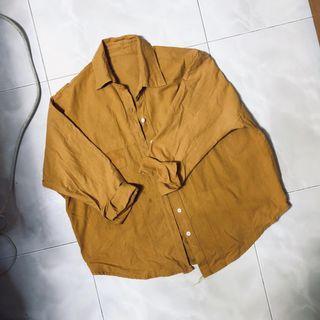🚚 Mustard button down blouse/ outerwear