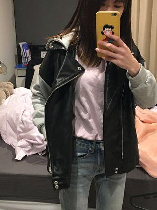 Leather with Hoodie