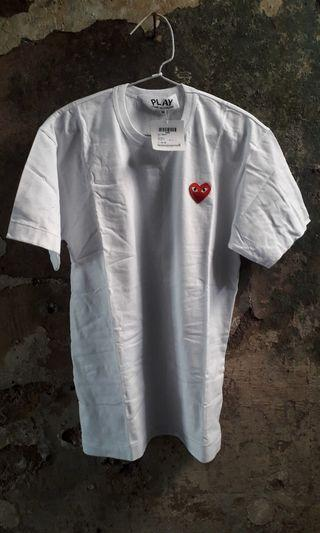 Tees Play CDG White Red Logo