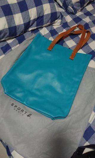 Agnes B Leather Tote Bag in Turquoise