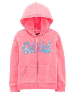 Oshkosh Flipped Sequins Logo Pink Hoodie
