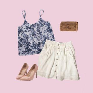 🚚 TTR White skirt / Blue Porcelain top
