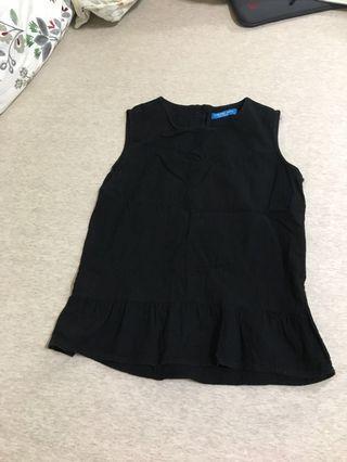 🚚 韓版黑色棉麻背心Black vest
