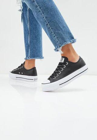 Converse Leather Black Platforms