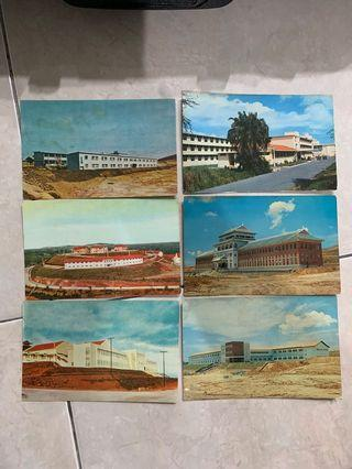 6 Vintage Nanyang University Singapore Malaya Postcards