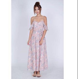MDS Floral Off Shoulder Maxi Dress