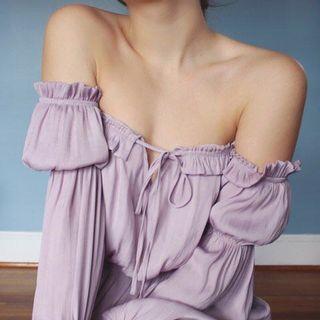 Forever21 pastel purple off shoulder dress