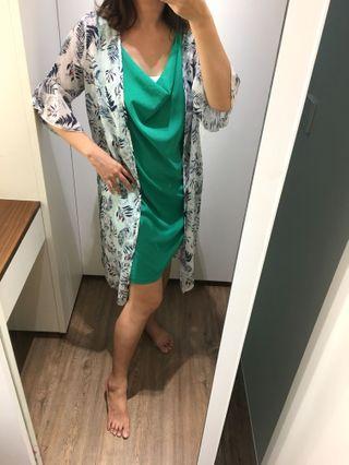 哈妞❤️HaNu《現貨💯實拍》夏日風情 滿版葉子 荷葉袖擺 長版 罩衫「特價/清倉」
