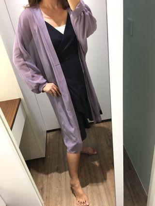 哈妞❤️HaNu《現貨💯實拍》浪漫紫 蝴蝶袖 長版 罩衫「特價/清倉」