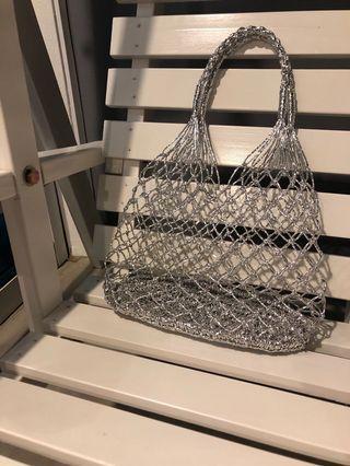Silver knit bag