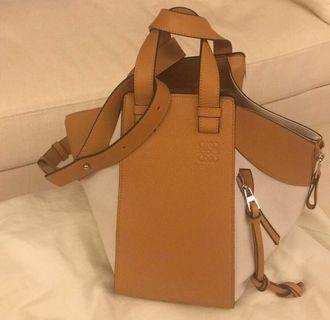 [Loewe] Hammock Two-tone Textured Shoulder Bag