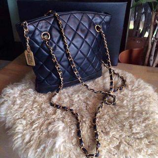 Authentic Chanel cambon shopping tote black bag