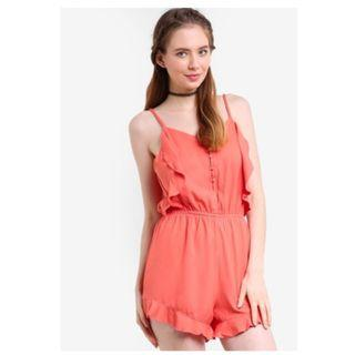 Factorie Button Up Ruffle Playsuit