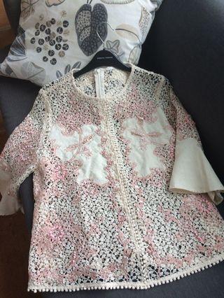 Laser cut / kerancang embellished top