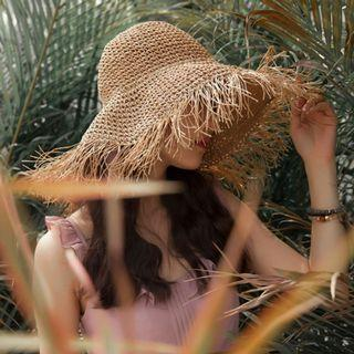 編織漁夫草帽 / 夏天度假草編毛邊帽子 / 可折疊沙灘遮陽帽太陽帽防曬帽寬簷帽漁夫帽 / Mercci22類似款