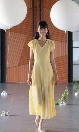 BNWT The Tinsel Rack Sasha Ruffles Sleeves Maxi Dress