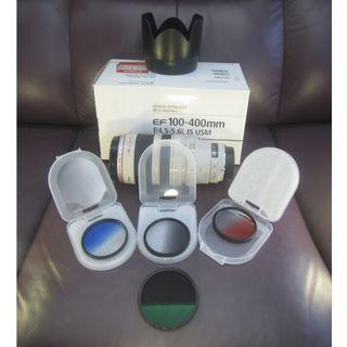 CANON 100-400mm f4.5-5.6L IS USM送原廠CANON  偏震鏡 CPL再送遮光罩再送三色漸變鏡 $7600