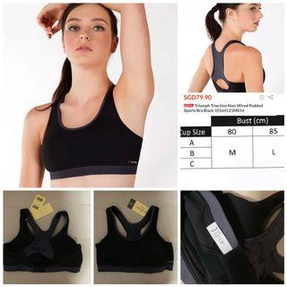SALE 55% off - BNWT Authentic Triumph Triaction non wired padded sports bra black size M (suits 80A-C/36A-C)