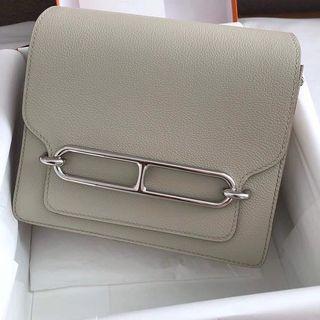 Hermes mini Roulis 18cm 8L Beton 冰川白 evercolor 銀釦 D