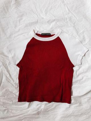 Brandy bright red and white bella ribbed crop top