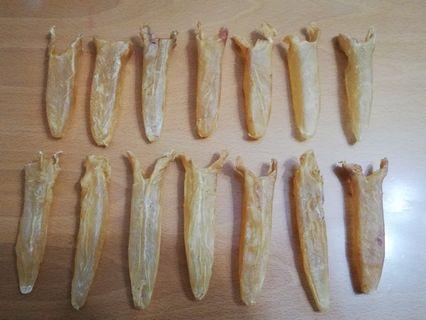 14隻野生老黃花筒花膠,魚膠,厚肉,重 128 克。