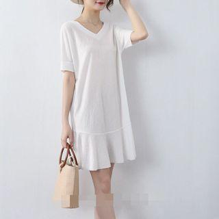 全新❤️M號白色荷葉邊寬鬆雙V領洋裝